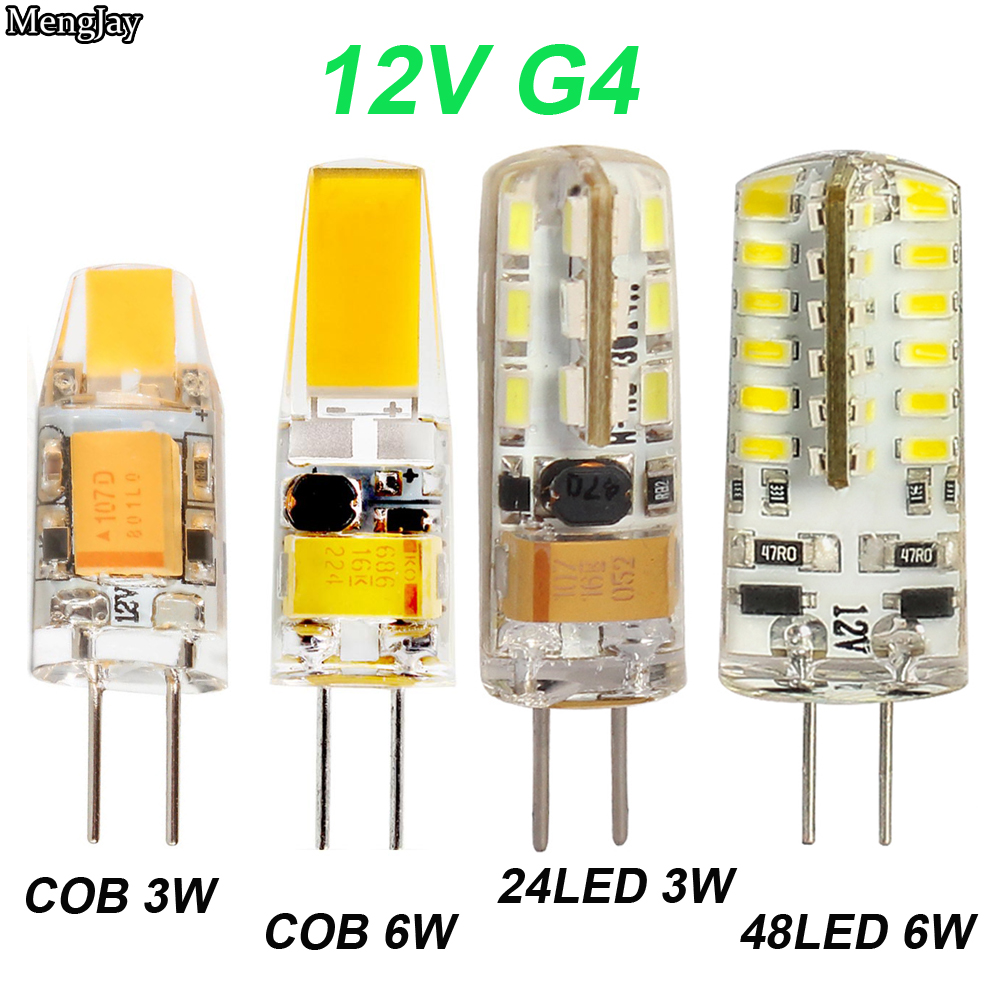 NEW Arrival 12V AC/DC COB G4 LED Bulb 3W 6W COB LED G4 Lamp Light For Crystal Chandelier G4 LED Lights Lamps SMD 24/48 LED Bulb