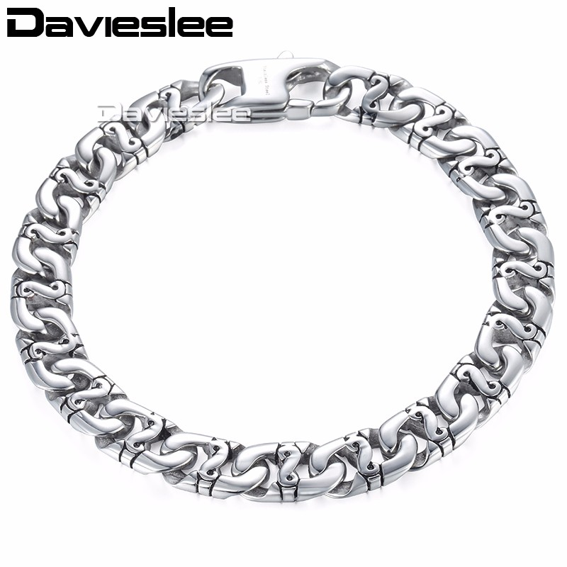Davieslee Mens Bracelet Chain Mariner Biker Link 316L Stainless Steel Customized Silver Tone 9mm LHB19 davieslee fashion mens man made leather bracelet stainless steel box link knot charm wristband 13mm dhb496