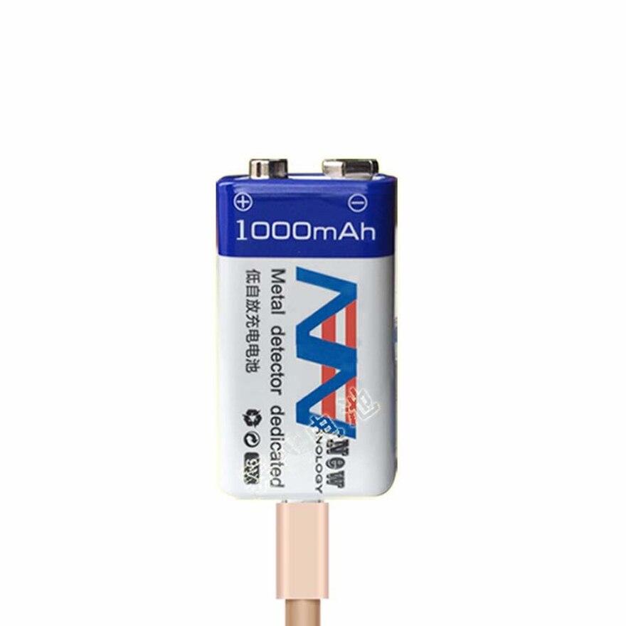 1 teile/los 9 v 1000 mah lithium-ion batterie USB aufladbare batterie detektor spielzeug linie finder akku kostenloser versand