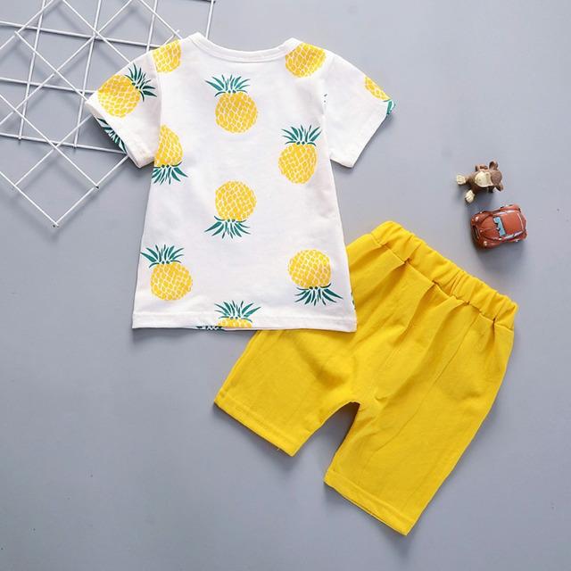 ISHOWTIENDA Baby Boy Clothes Pineapple T-shirt Tops Solid Short Casual Outfit Set Newborn Boy Clothes Abbigliamento Neonato