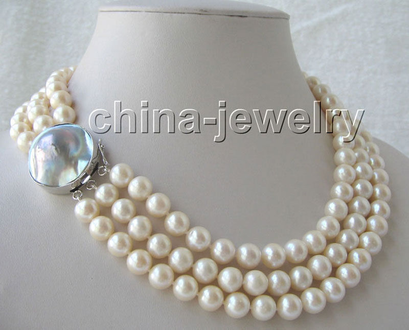 AAAA3row 17-19 10mm natural white round freshwater pearl necklace - 925>>>girls choker necklace pendant Free shippingAAAA3row 17-19 10mm natural white round freshwater pearl necklace - 925>>>girls choker necklace pendant Free shipping