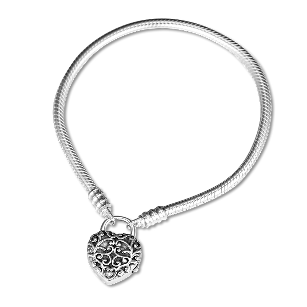 Sterling Silver 925 Padlock Heart Charm Bracelet 19 cm