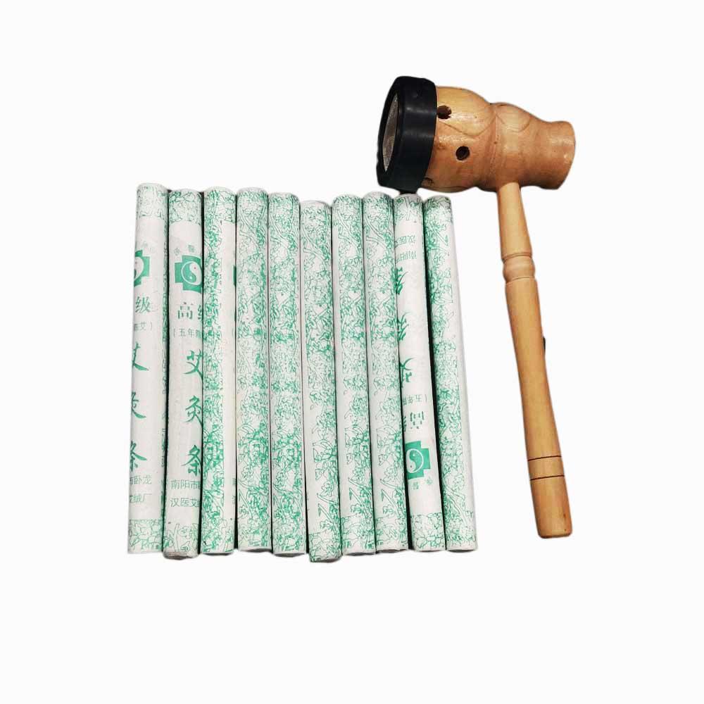 Moxibustion Moxa Brûleur Boîte Avec 10 Pur Moxa Bâton Rouleaux-Thérapie de Massage Traditionnel Chinois Pour Antistress et Acupuncture
