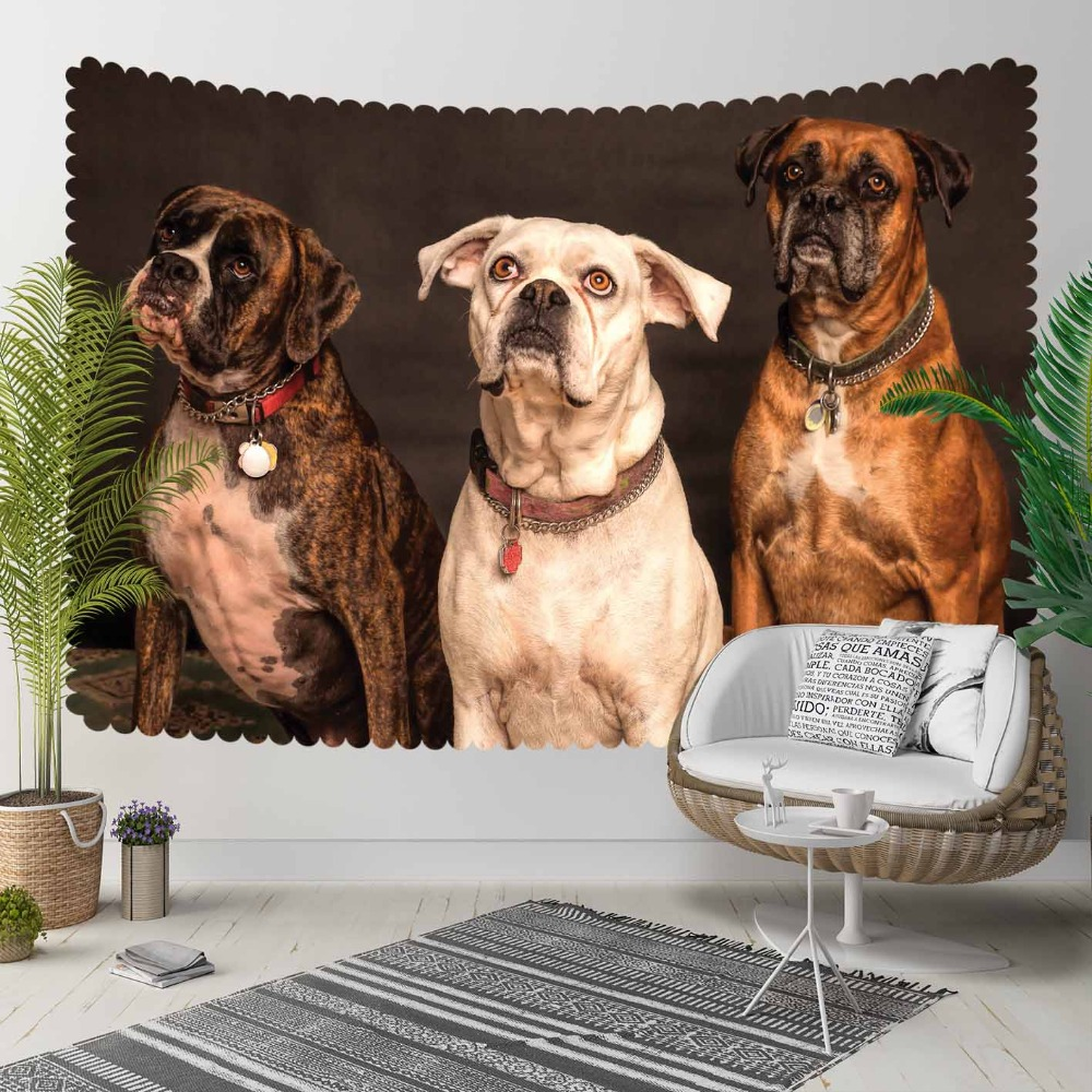 Else Brown White Black Funny Dogs Animals 3D Print Decorative Hippi Bohemian Wall Hanging Landscape Tapestry Wall Art