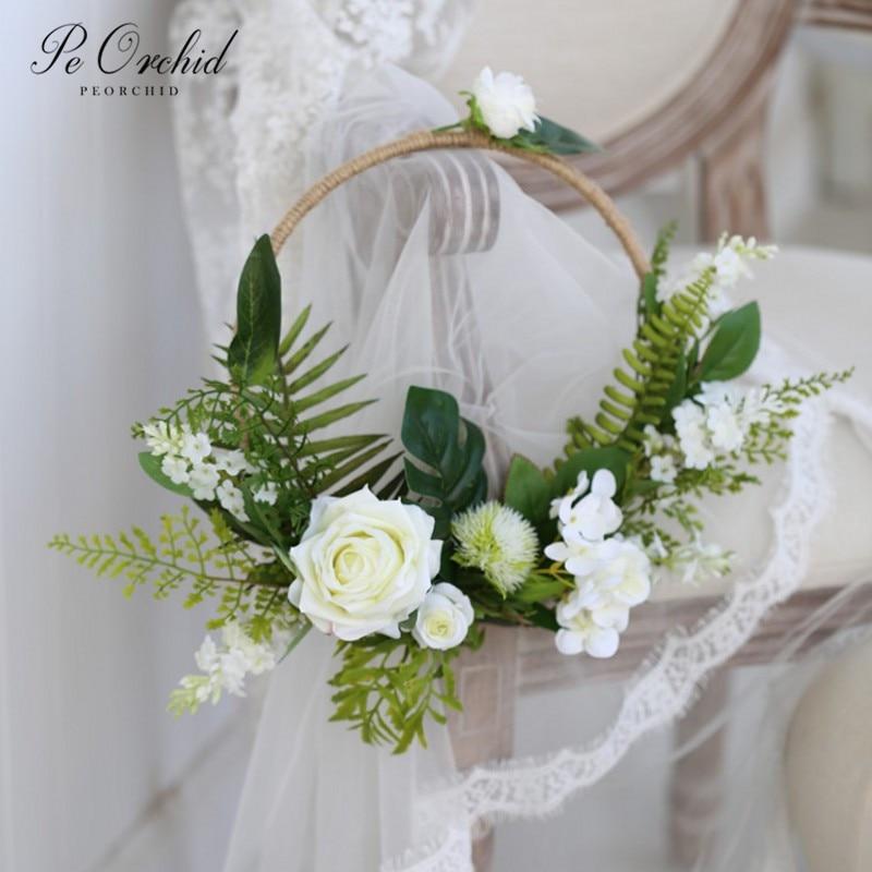 PEORCHID Green White Rose Wedding Door Wreath Floral Hoop Bouquet Modern Wedding Flowers Bouquet Bridal Shower Church Decor