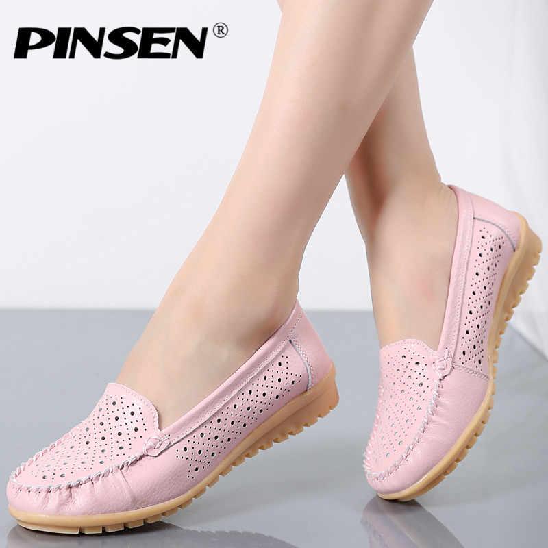 Pinsen 가을 여성 플랫 신발 여성 정품 가죽 신발 여성 컷 아웃로 퍼스 발레 플랫에 슬립 발레리나 플랫 모카신