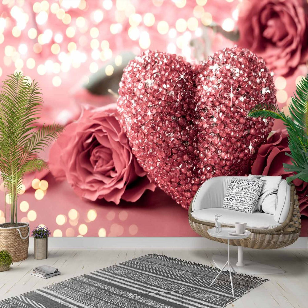 Else Pink White Roses Diamond Hearts Love 3d Photo Cleanable Fabric Mural Home Decor Living Room Bedroom Background Wallpaper