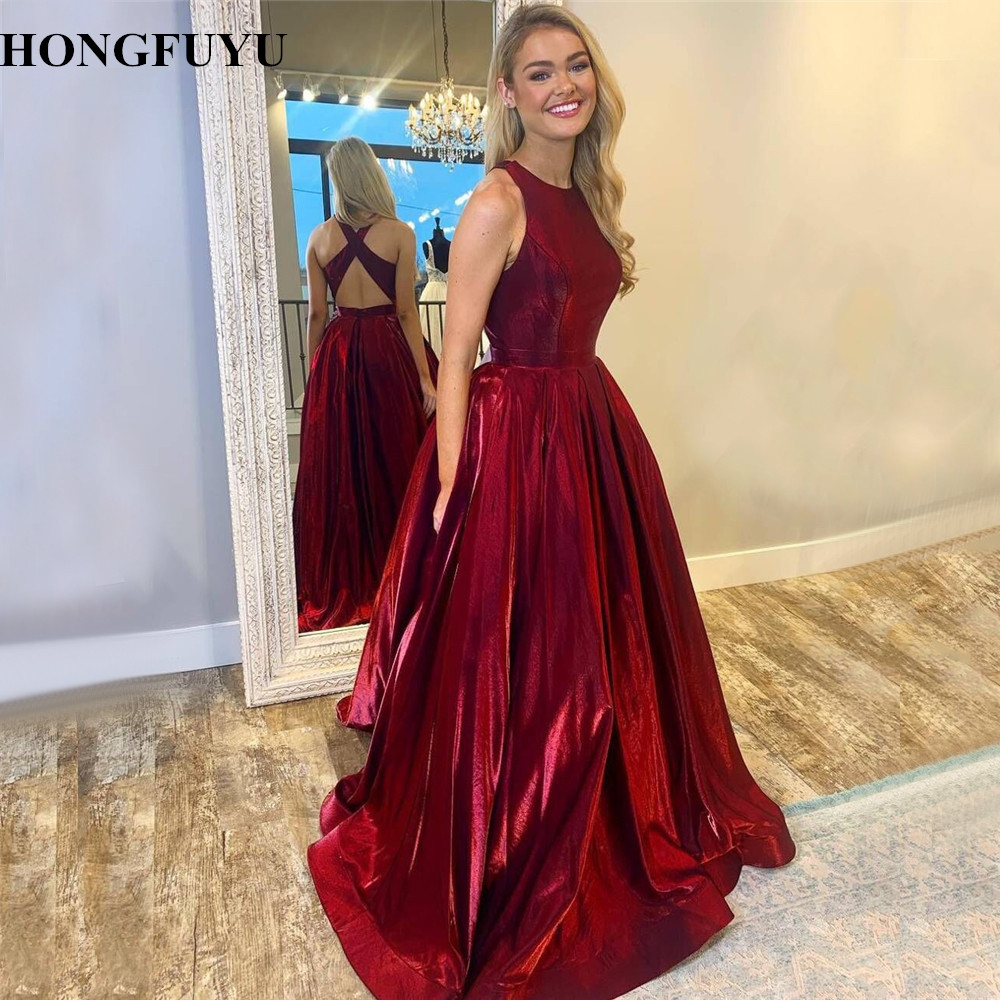 HONGFUYU Satin   Prom     Dresses   Vestido de Festa O-neck Floor Length Party Ball Gown Evening   Dress   A Line Formal Pageant   Dress   Long