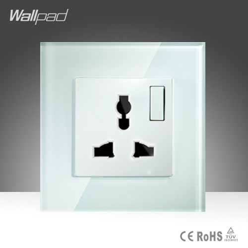 1 Gang 1 way Universal Sokcet Wallpad White Crystal Glass Manual Button Switch and 10A Universal  Wall Socket Free Shipping wallpad luxury double 13 a uk switched socket goats brown leather 1 gang switch and 13a wall socket with neon free shipping