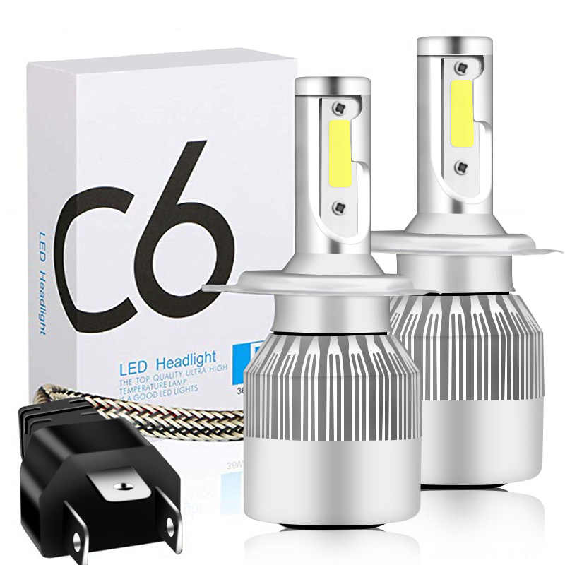 1 PCS Mini Car Headlight Bulb LED C6 H1 H3 H4 H7 9005 9006 36W 6500K 3800LM Auto Car Light Styling Bright Lamp Bulb White Light