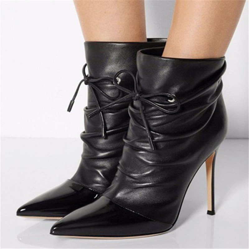 Roman Style Pleated Ankle Boots Women Lace Up Pointed Toe Gladiator Shotr Boots Black Booties High Heels Stiletto Shoes WomenRoman Style Pleated Ankle Boots Women Lace Up Pointed Toe Gladiator Shotr Boots Black Booties High Heels Stiletto Shoes Women