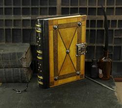 Echtes leder reise journal notebook sketch Leder Journal mit Schloss und Schlüssel Gelb Antiqued Leder