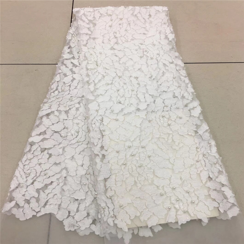 2018 French Lace Fabric White Wedding High Quality African Tulle Lace Fabric 5Yard 3D Flowers Embroidered