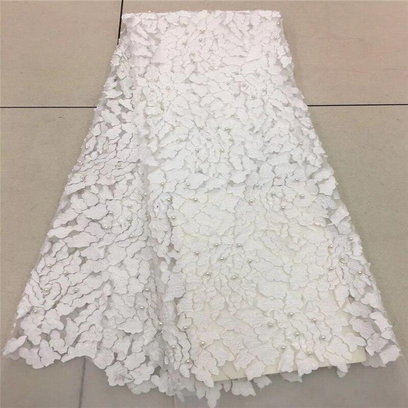 Ev ve Bahçe'ten Dantel'de 2018 Fransız Dantel Kumaş Beyaz Düğün Yüksek Kalite Afrika Tül Dantel Kumaş 5 Yard 3D Çiçekler Işlemeli Tül Dantel fabric1757B'da  Grup 1