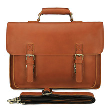 Men's Briefcase Cow Leather Business Travel 15