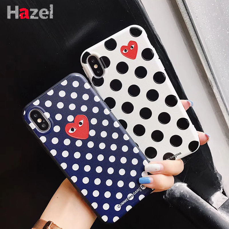 Hot France CDG Play Comme des Garcons Heart Soft cover case for iphone 6 6Plus S 7 7 plus 8 8Plus X Love Wave point phone cases