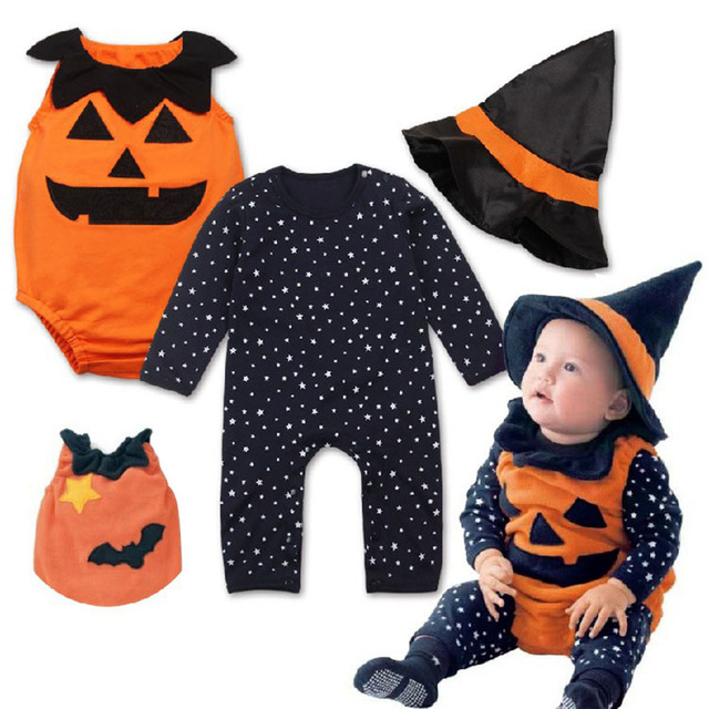 newborn baby pumpkin romper long sleeve jumpsuit hat halloween outfit set