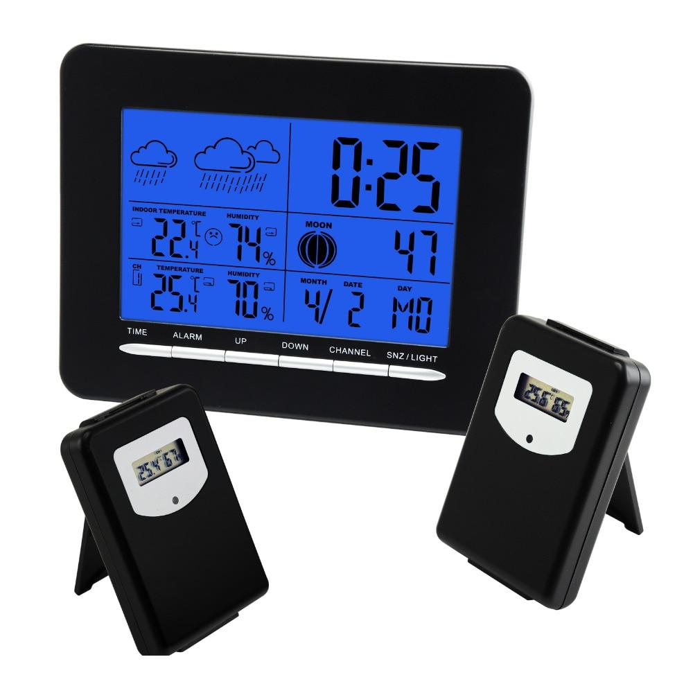 2 Wireless Sensors Weather Station Multiple Display DCF Radio Controlled Clock RCC Thermometer Alarm Sunrise Sunset