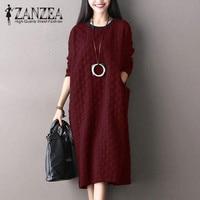 Plus Size ZANZEA Women Retro Long Sleeve Pockets Loose Long Shirt Vestido Autumn Crew Neck Kaftan