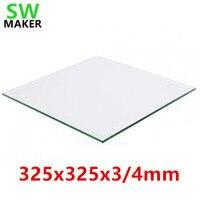 Swmaker 325x325x3mm 붕규산 유리 325x325x4mm wanhao d9 프린터 용 빌드 플레이트 히트 베드 플레이트 빌드 표면 핫 베드