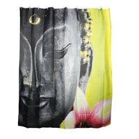 UXCELL Buddhism Buddha Pattern Polyester Fabric Bath Shower Curtain W Plastic Hooks 71