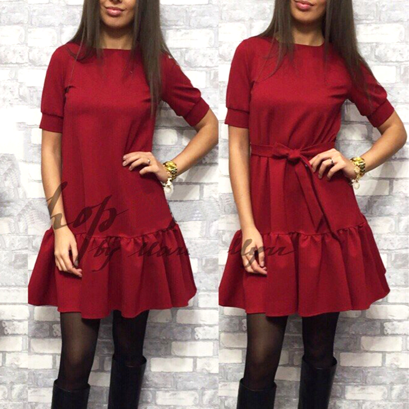 2018 Fashion Women Vintage belt Loose Dress Casual O-Neck Short Sleeve Wine red Dresses Elegant Ruffled Beach dress vestidos