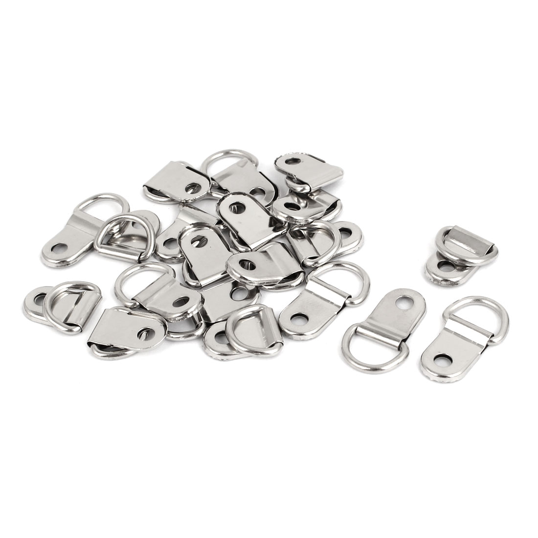 UXCELL High Quality 20Pcs lot 25x15mm Single Hole 3 5mm D Ring Picture Frame Hangers Hooks With Screws Silver Tone in Hooks from Home Improvement