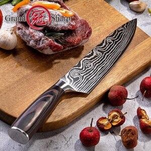 Image 4 - Кухонный нож шеф повара из высокоуглеродистой нержавеющей стали, дамасский лазер, 8 дюймов