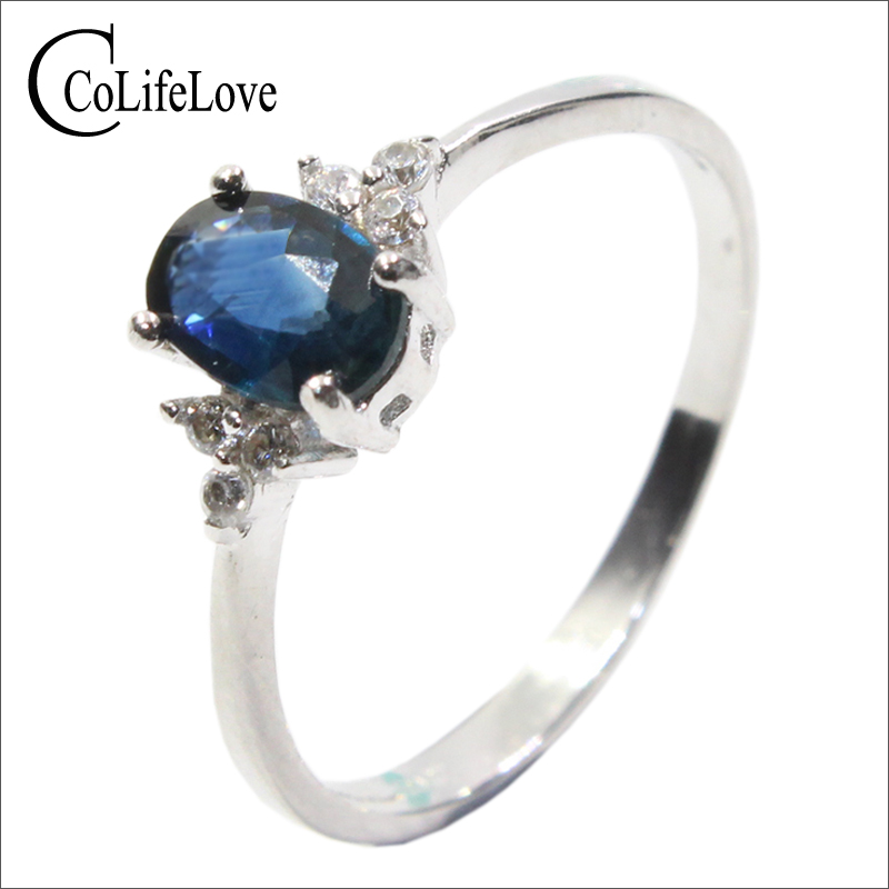 Romantic sapphire wedding ring for woman 4 mm 6 mm 0 4 ct natural sapphire gemstone