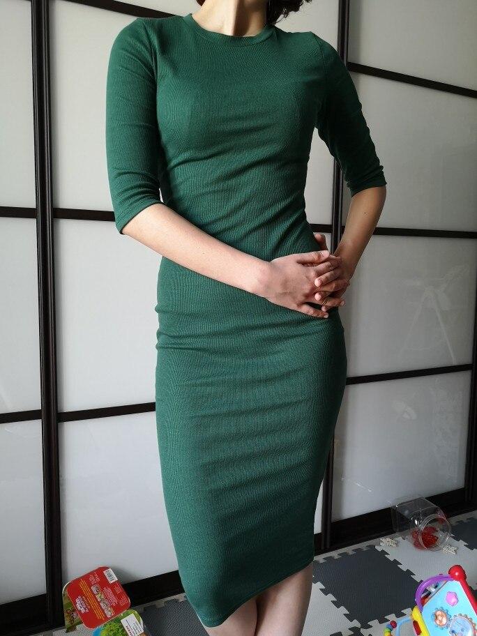 COLROVIE Work Summer Style Women Bodycon Dresses Sexy Casual Green Crew Neck Half Sleeve Midi Dress