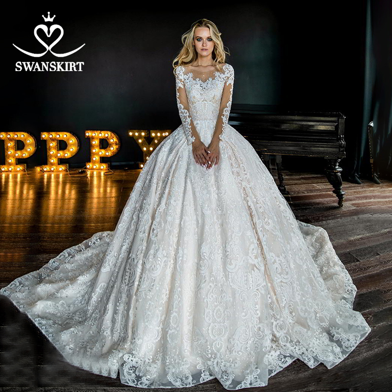 Swanskirt Bling Vestido De Novia Wedding Dress 2019 Luxury Long Sleeve Appliques Beaded Ball Gown Chapel Train Bridal Gown HZ02