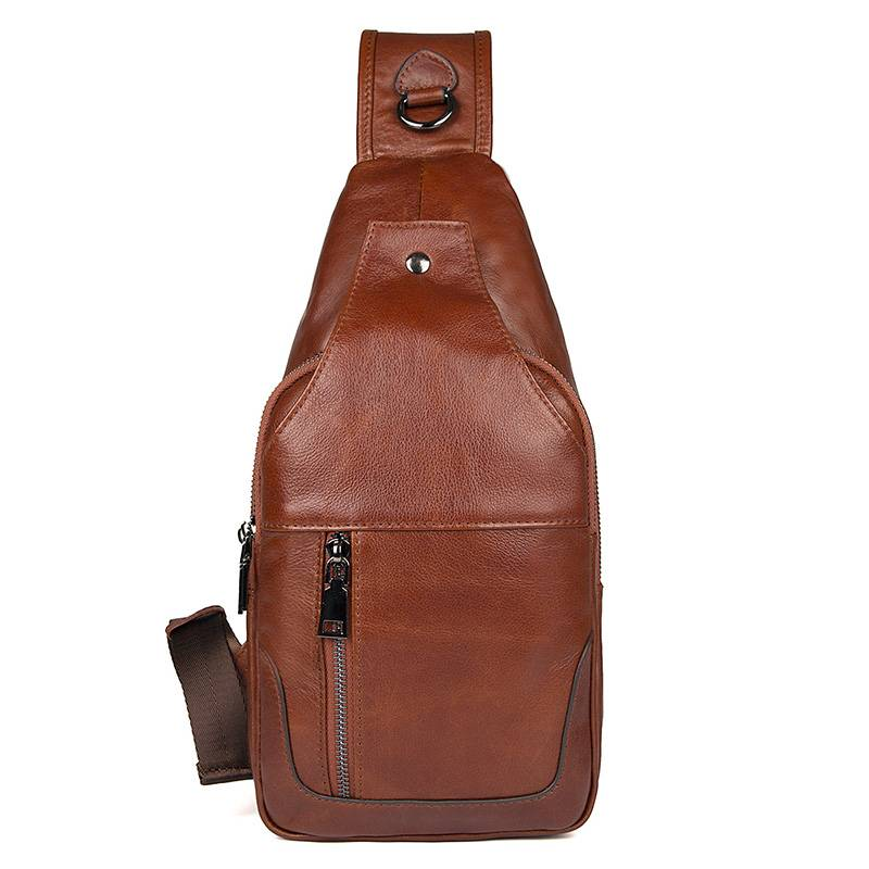 Men Genuine Leather Cowhide Vintage Sling Chest Back Day Pack Bags Business Travel fashion Cross Body Messenger Shoulder Bag men high quality oil wax genuine leather cowhide messenger shoulder cross body bag travel vintage sling chest back day pack
