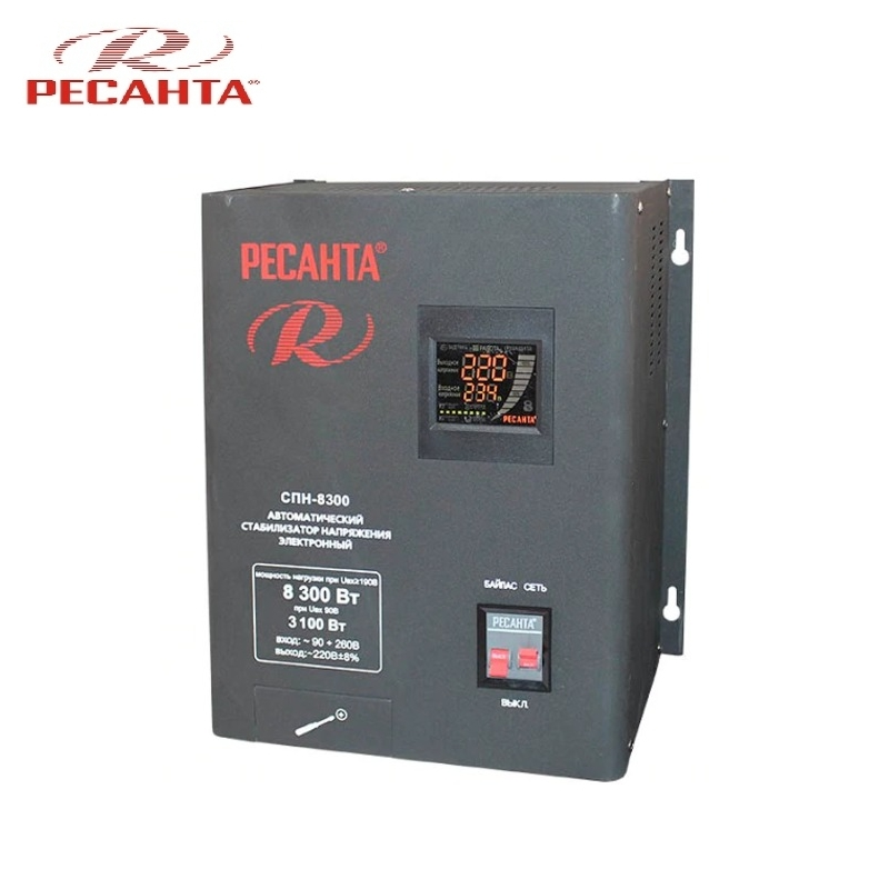 Single phase voltage stabilizer RESANTA SPN-8300 Relay type Voltage regulator Monophase Mains stabilizer Surge protect стоимость