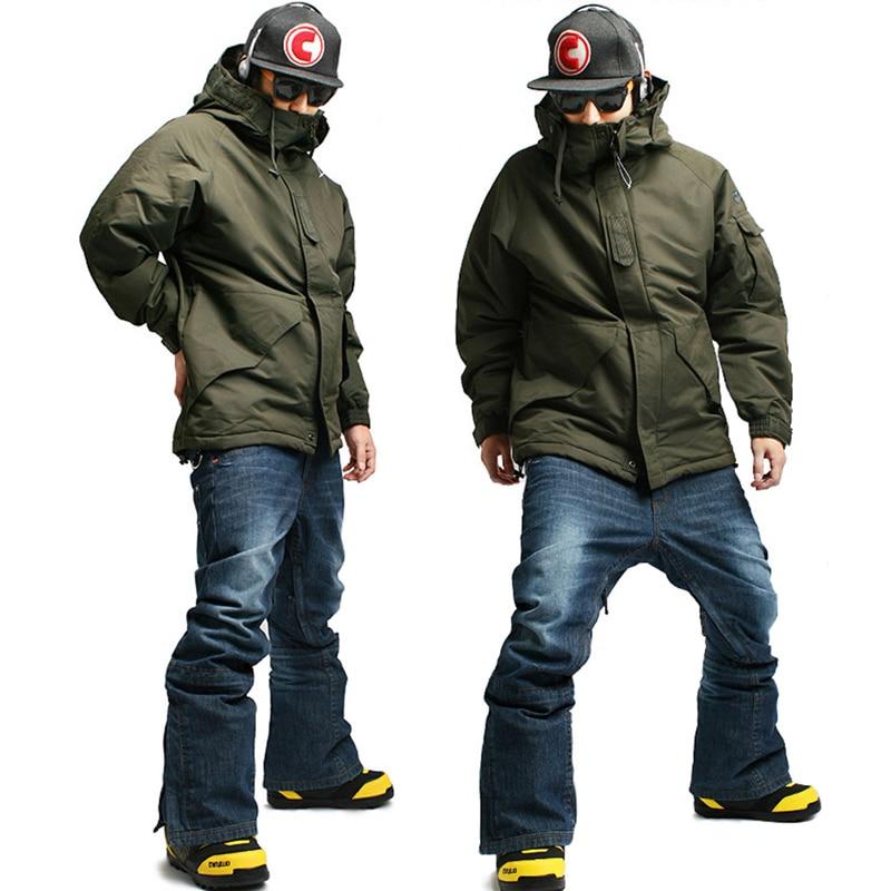 Зимние водонепроницаемые лыжные штаны премиум класса «Southplay», 10 000 мм (куртка цвета хаки + синие джинсы)