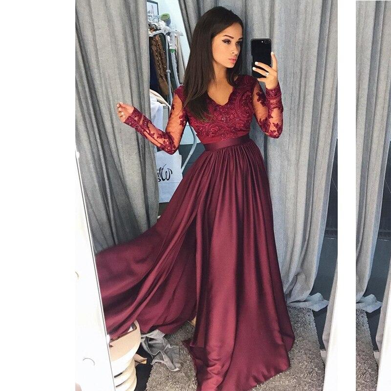Angel Married   evening     dress   simple long sleeve lace Burgundy with slit women pageant gown formal prom   dress   vestidos de fiesta
