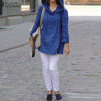 ZANZEA Brand Women Tops 2017 Autumn Cotton Blouses Shirts Casual Loose Hooded Blusas Long Sleeve Solid