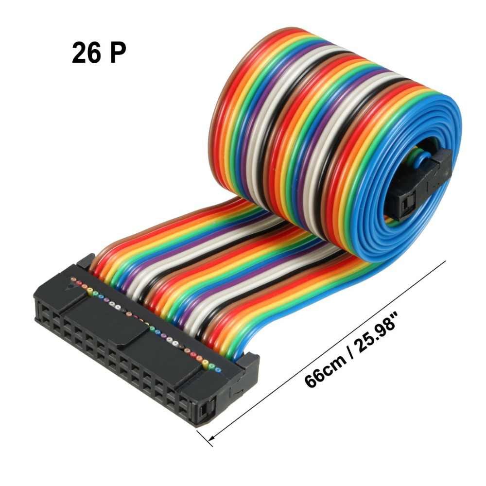 Uxcell 26 pinów 48/66/118/128 cm długości 2.54mm Rainbow/szary płaskich IDC elastyczna wstążka kabel jumper 1 sztuk łatwy w obsłudze