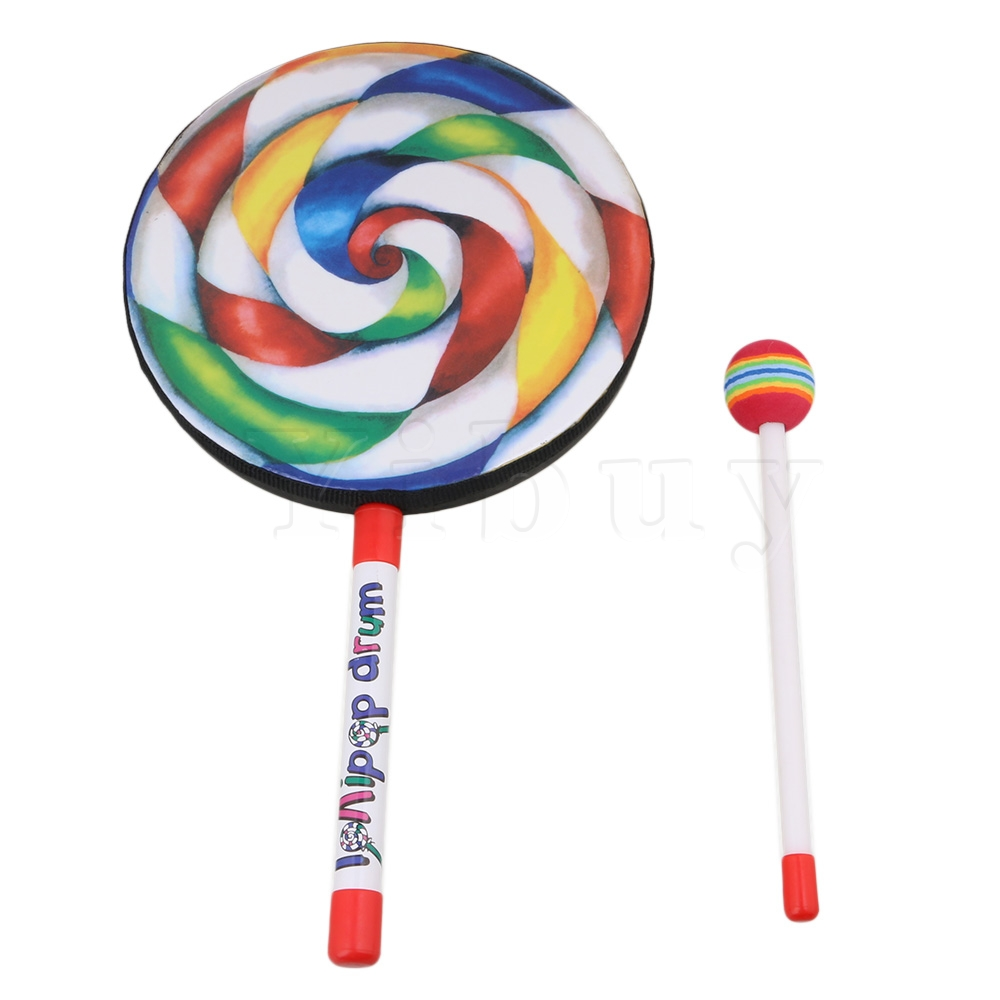 """Yibuy 7.9"""" Lollipop Shape Hand Drum Percussion Musical Instruments Education Toys for Kid and Baby with Candy Drumstick"""