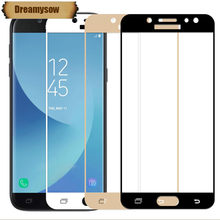 Full Cover Tempered Glass For Samsung Galaxy J3 J5 J7 2017 J330 J530 J730 EU Eurasian Version Screen Protector Blue color Film(China)