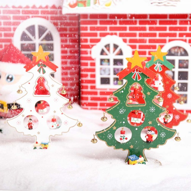 1 pcs christmas decorations diy wooden small christmas tree with single bell home office table decorative