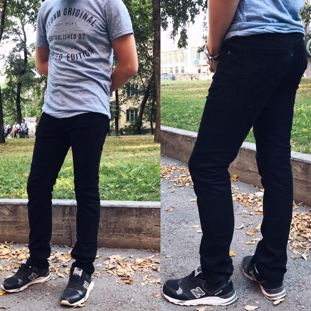 Черные мужские джинсы от Alice&Elmer с Алиэкспресс
