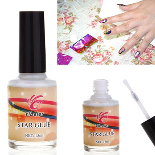 15ml Nail Art Glue for Foil Sticker Nail Transfer Tips Adhesive Starry Sky Pattern leopard pattern adhesive decorative nail tip black deep pink 100 pcs
