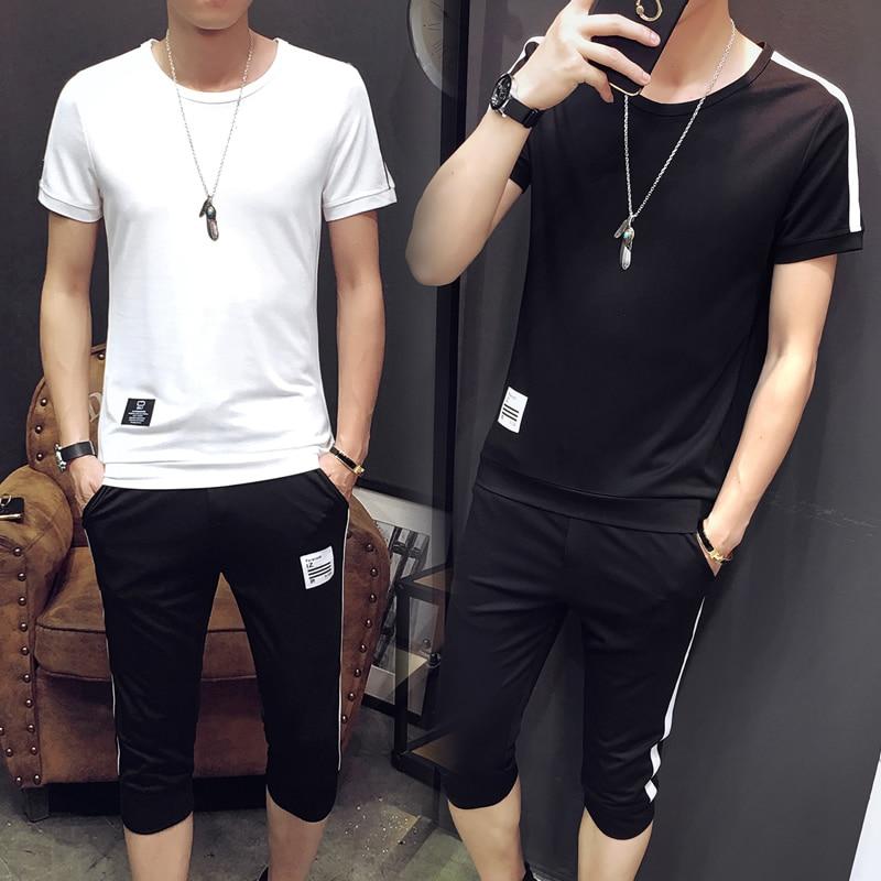 Летняя одежда футболка с короткими рукавами в больших размеров костюм молодой мужчина серия han cultivate one's morality мужской костюм чистого со