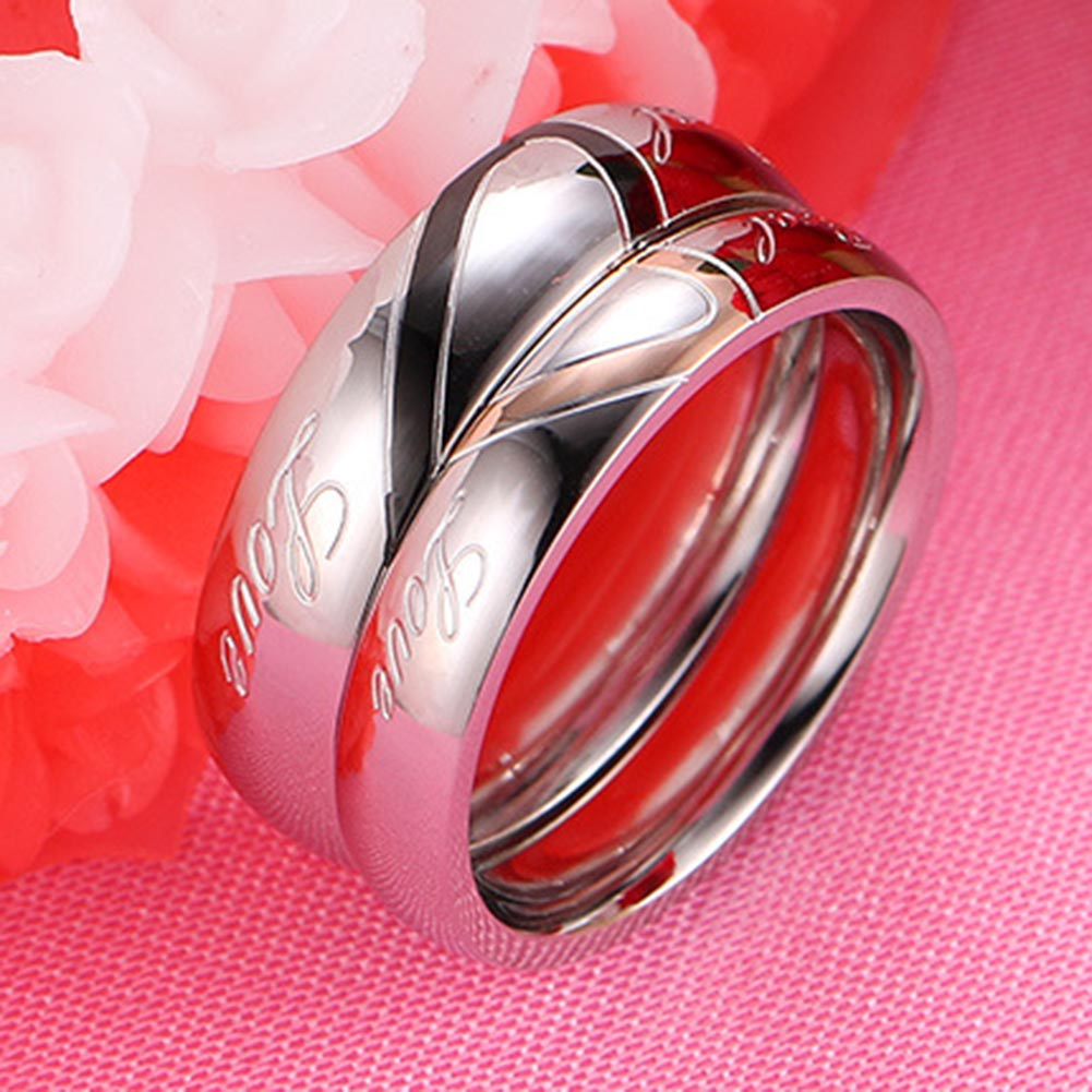 For Male Love Rings Hold Hands Couple Rings Fine Jewelry New Design Valentines Titanium Steel Heart-shaped