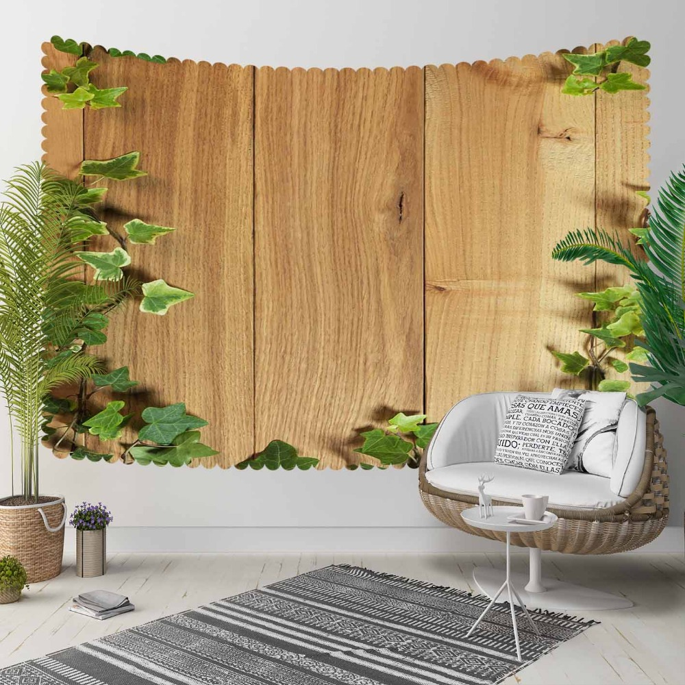 Else Brown Tree Wood On Green Ivy Leaves Floral 3D Print Decorative Hippi Bohemian Wall Hanging Landscape Tapestry Wall Art