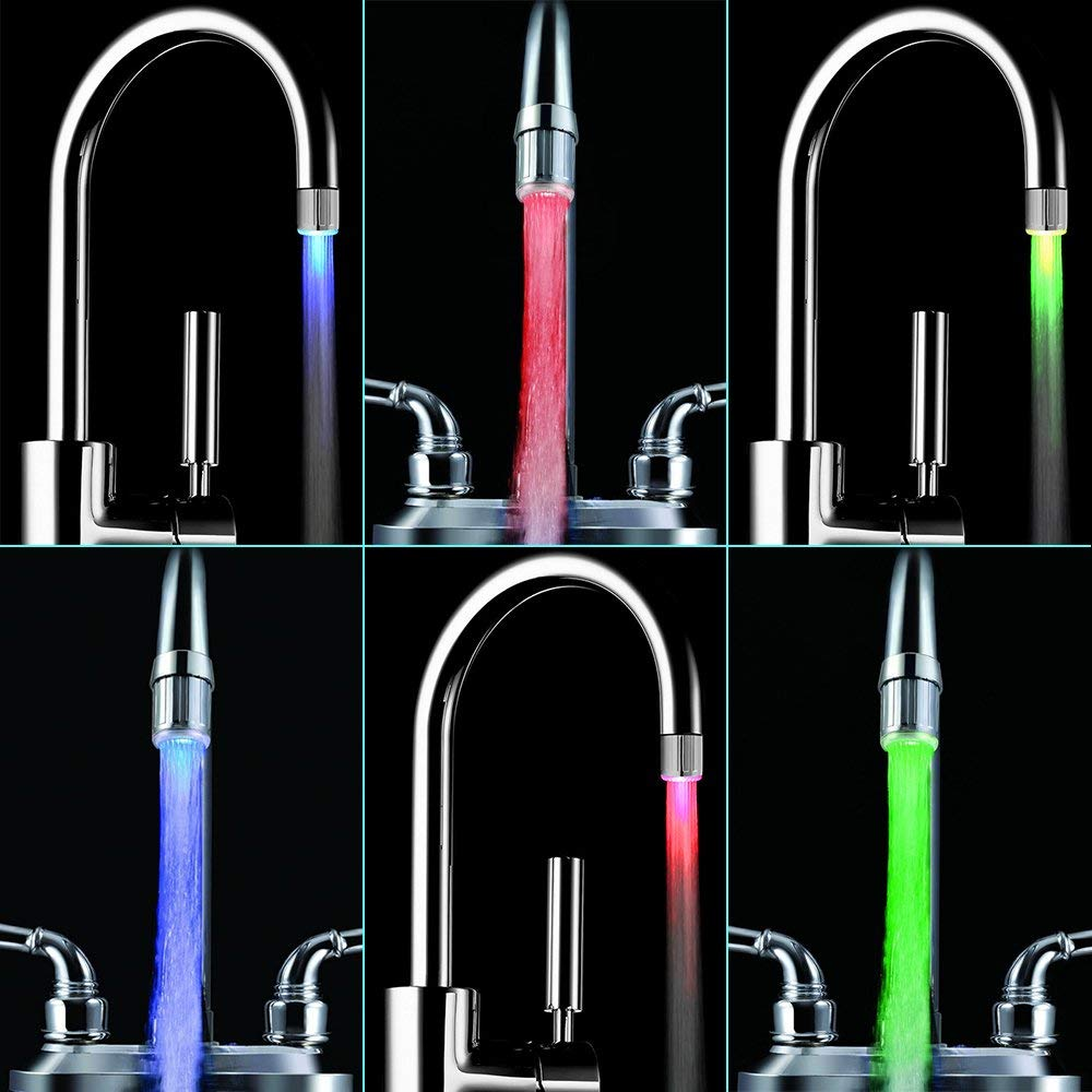 2Pack RGB Temperature Sensitive Gradient LED Water Faucet Light Water Stream Color Changing Faucet Tap Sink Faucet For Kitchen
