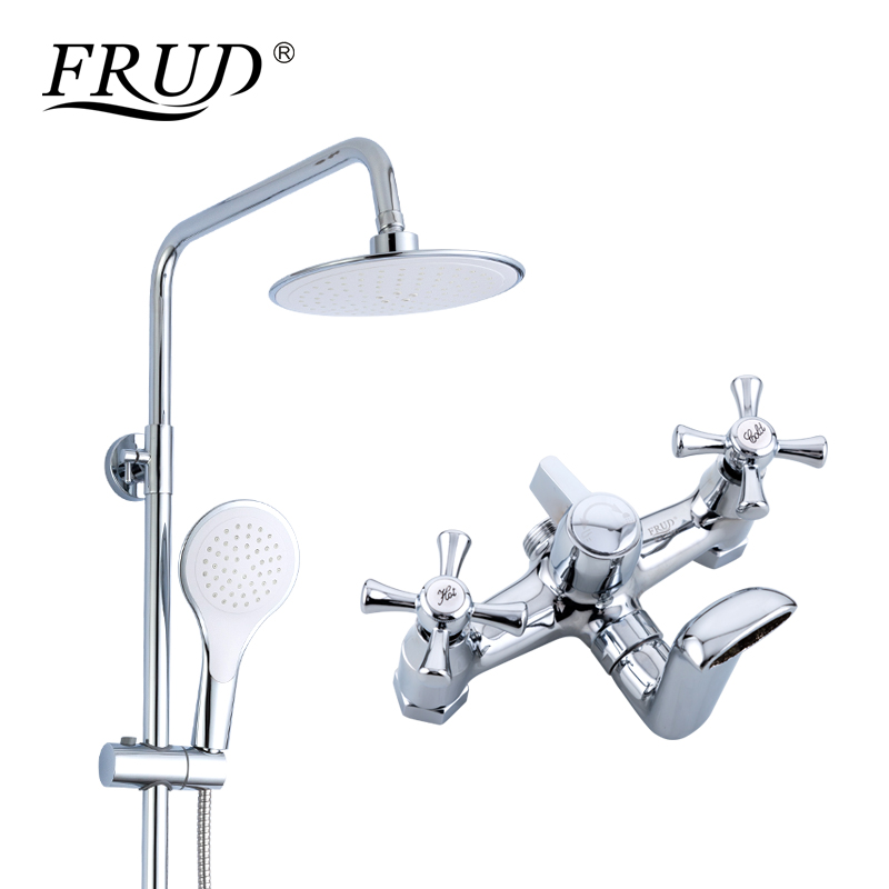FRUD New 1 Set Bathroom Rainfall Shower Faucet Set Duble Handle Mixer Tap With Hand Sprayer Wall Mounted Bath Shower Set R24732