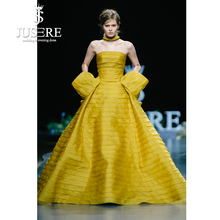 JUSERE 2019 SS אופנה להראות צהוב ארוך שמלת ערב קפל סטרפלס ללא שרוולים מקיר לקיר מסיבה שמלות Robe de soiree