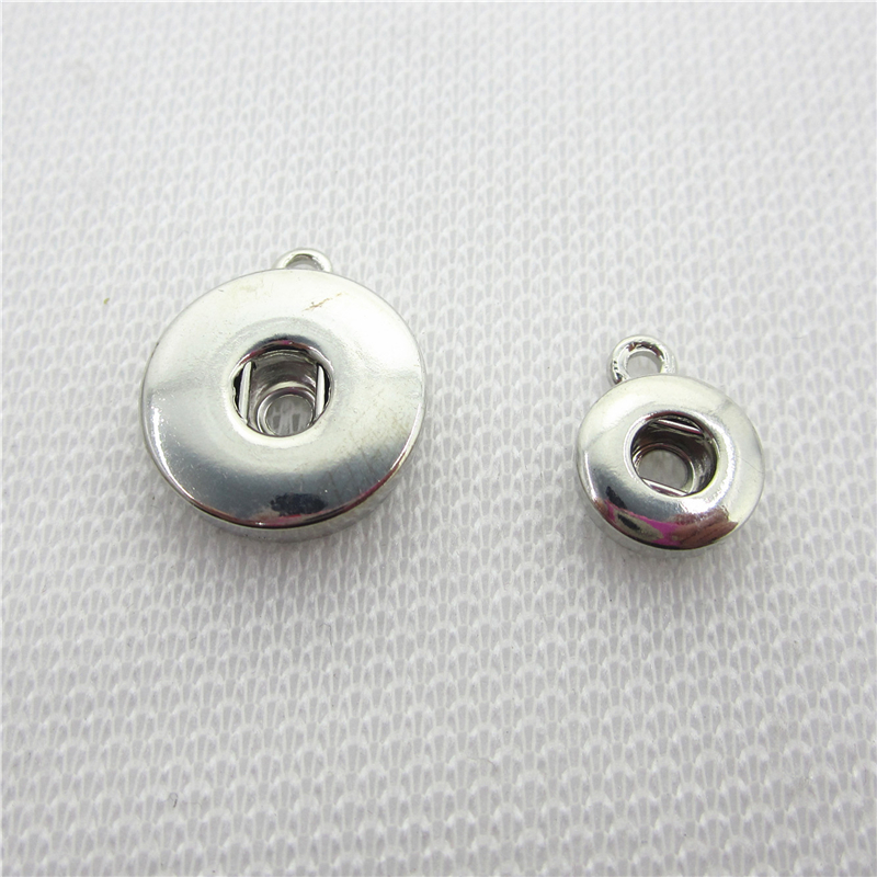 50pcs/lot Silver Round Snap Button Necklace Dangle Charms DIY Snaps Jewelry Accessories Necklace Pendant Accessory 12mm 18mm image