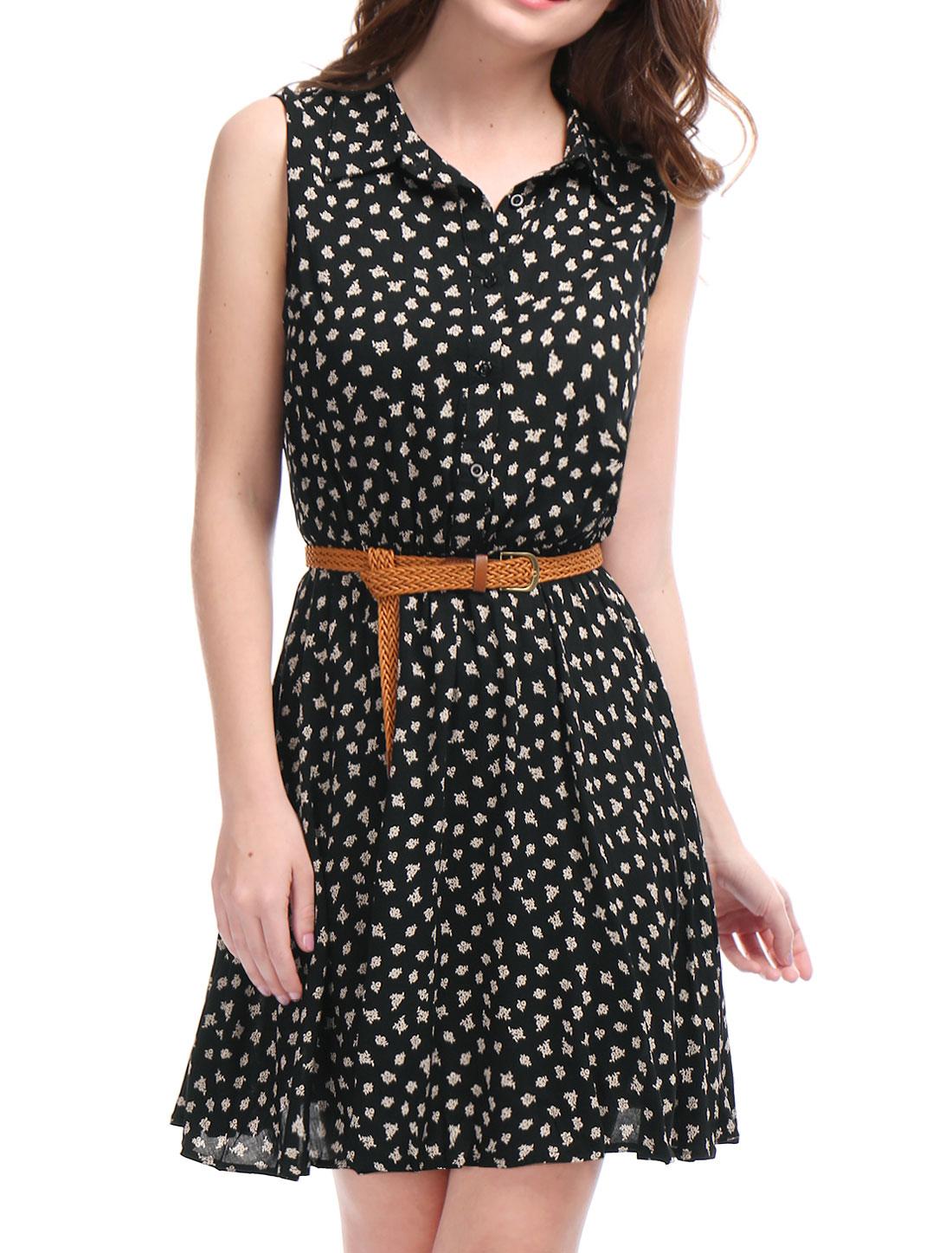 b2a9486e2bb96 Allegra K Ladies Printed Button Closure Upper Sleeveless Belted Shirt Dress